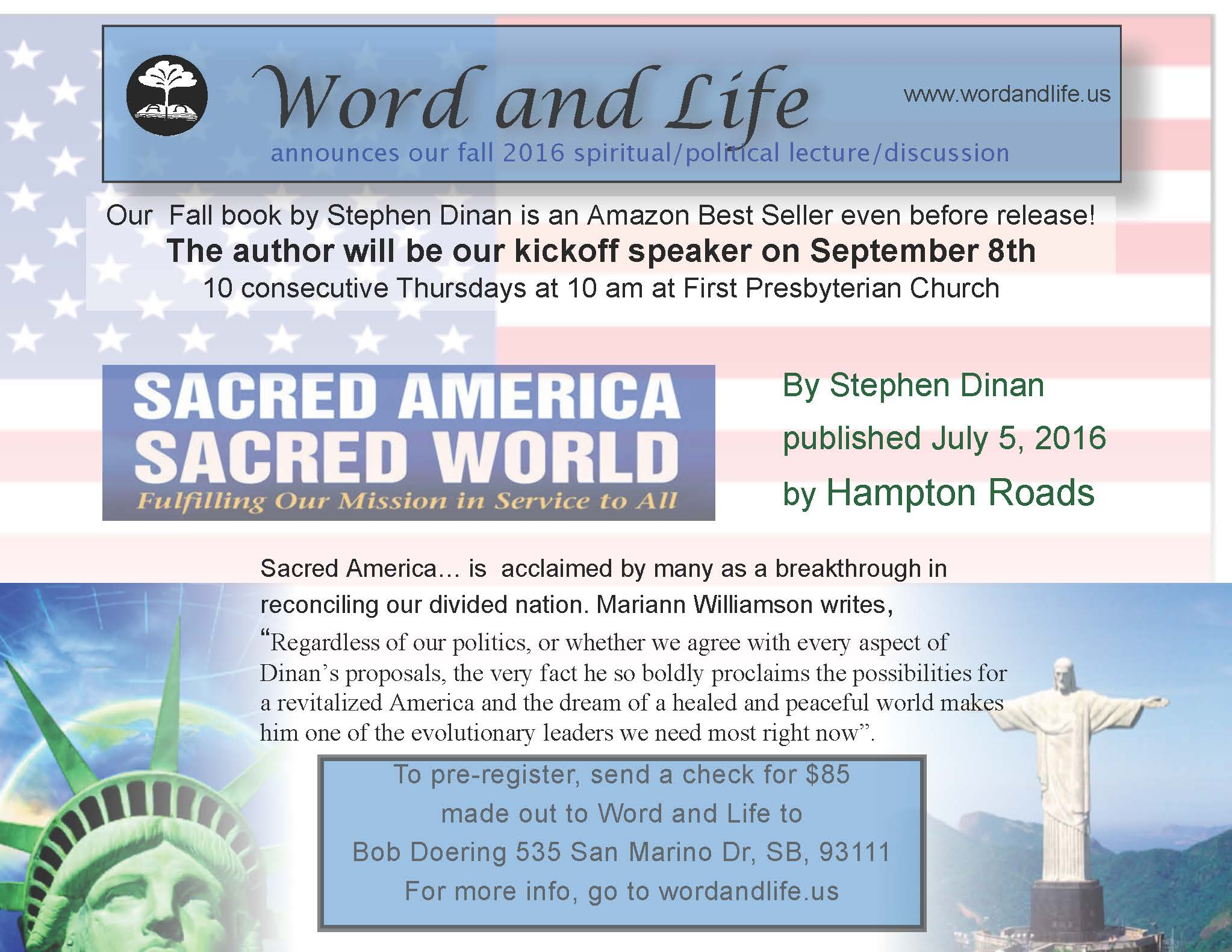 Flyer advertising Fall 2016 Word & Life program: a new book by Stephen Dinan